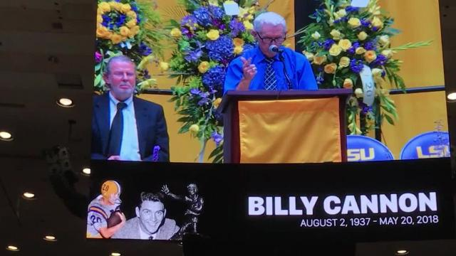 Billy Cannon's LSU teammate Scooter Purvis speaks at funeral
