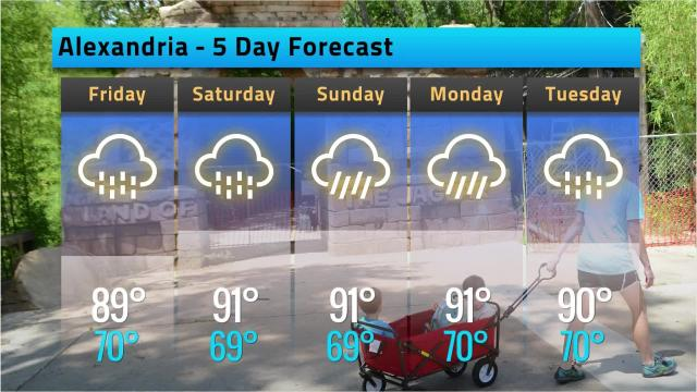 Here is your Alexandria weather forecast for Thursday, May 24