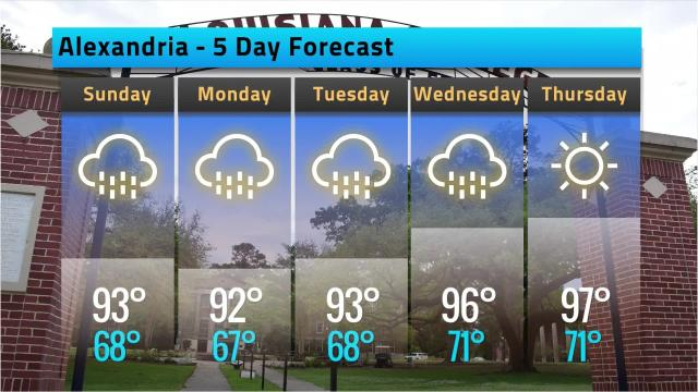 Here is your Alexandria weather forecast for Saturday, May 26