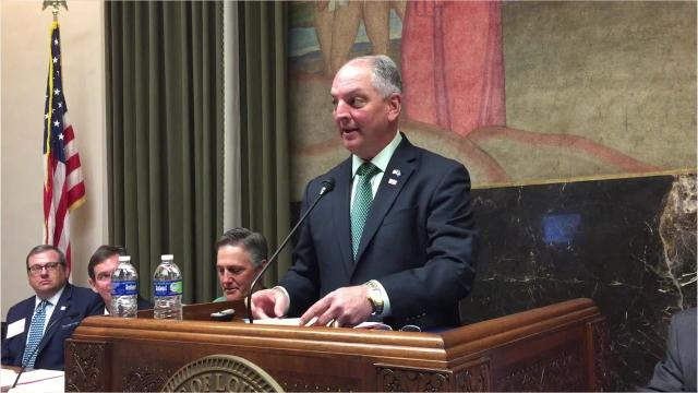 Gov. John Bel Edwards spoke to the Acadiana Planning Commission in the Capitol Tuesday.