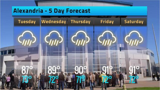 Alexandria weather forecast for Monday, June 18, 2018