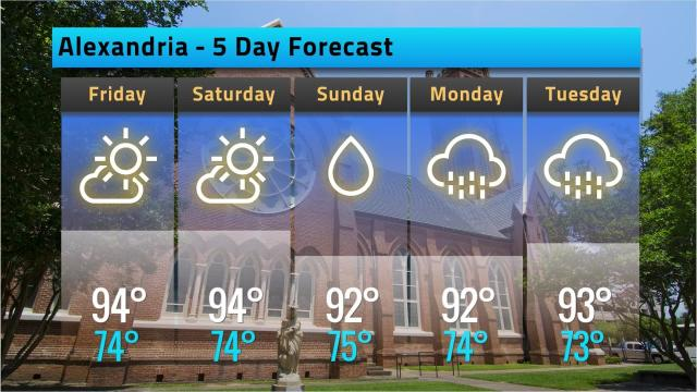 Alexandria weather forecast for Thursday, June 21, 2018