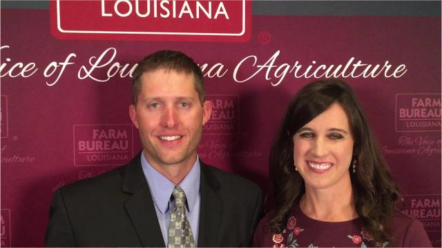 Jacob and Kari Rumbaugh, who operate an 1,100-acre farm and ranch in Dixie, earned the Young Farmer and Rancher Achievement Award at the Louisiana Farm Bureau Federation Convention in New Orleans.