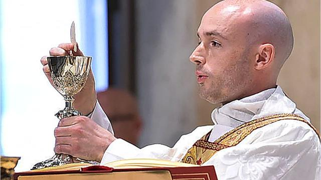 Rev. Pitre says first Mass after being ordained a Catholic priest.