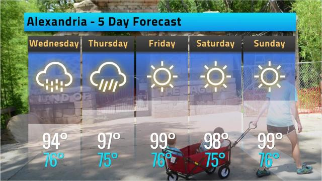 Alexandria weather forecast for Tuesday, July 17, 2018