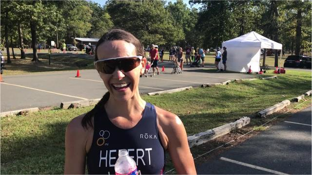 Linzie Hebert of Choudrant won the women's division at the 2018 River Cities Triathlon and posted the best time of her three career wins in Benton.