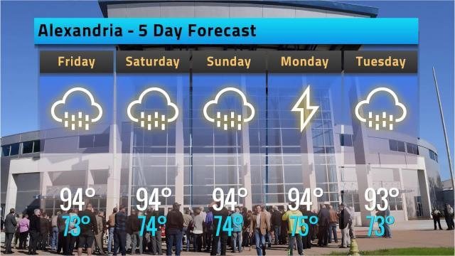 Alexandria weather forecast for Thursday, Aug. 16, 2018