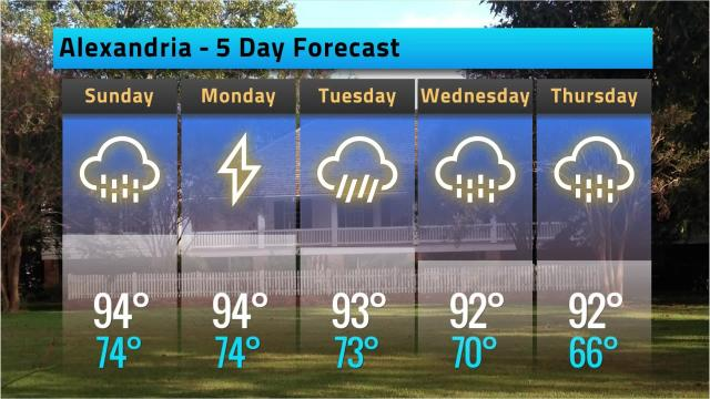 Alexandria weather forecast for Saturday, Aug. 18, 2018
