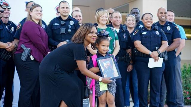 Officers from the Lafayette Police Department escorted Violet Middlebrook to her first day of school at Lafayette Christian Academy on Monday. She is the daughter of Cpl. Michael Middlebrook, who was killed in the line of duty last October.