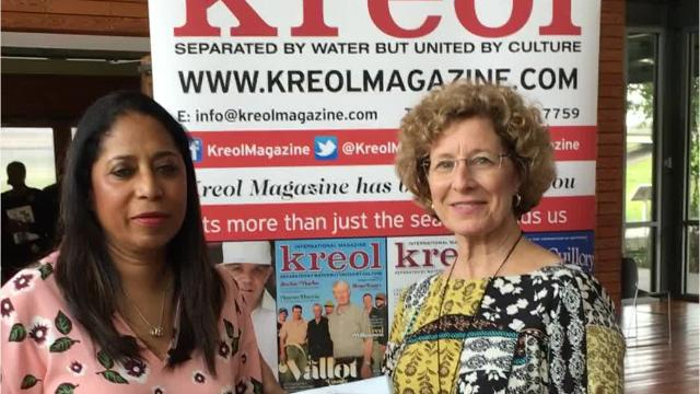 Georgina Dhillon editor and publisher of the international magazine Kreol visits tourist center to sign copies of her magazine which features areas of St.Landry Parish.