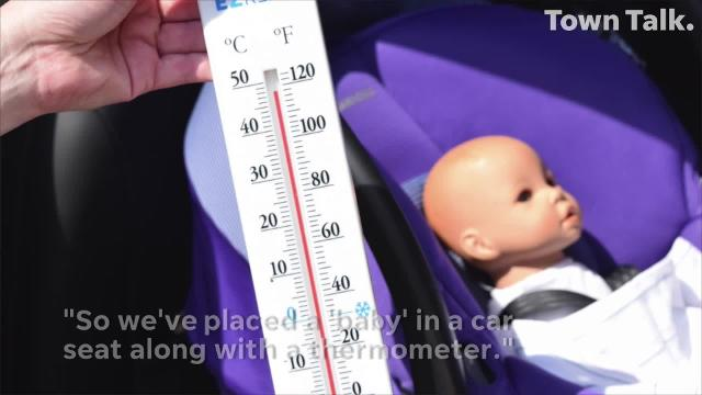CHRISTUS St. Frances Cabrini and Bridgett Foreman, M.D. of the Freedman Clinic and a member of the CHRISTUS St. Frances Cabrini Pediatric Hospitalist program conduct a demonstration on how quickly the temperature of a parked vehicle can rise in 10 minutes instantly endangering a child.
