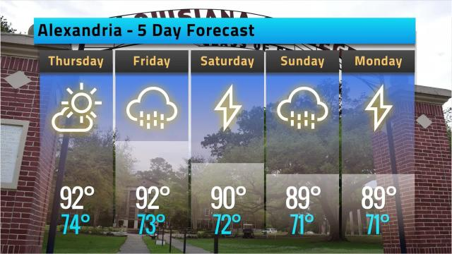 Here is your Alexandria weather forecast for Wednesday, Sept. 19