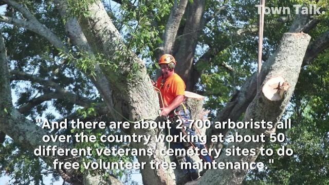 On Wednesday, arborists donated their services to Saluting Branches to help clean up about 50 veterans' cemeteries. Locally, Wayne's Tree Service and Paul's Tree Service helped clean up Alexandria National Cemetery.
