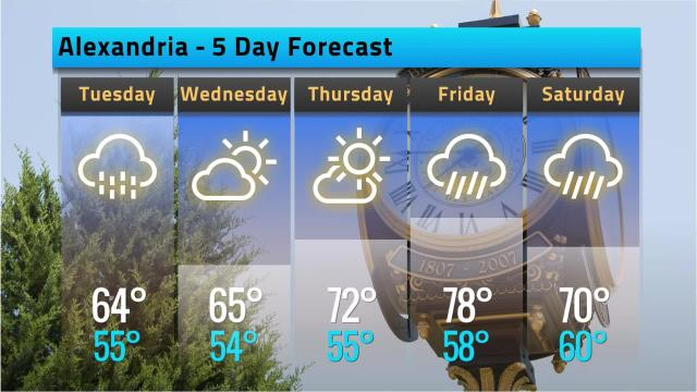 Here is your Alexandria weather forecast for Monday, Oct. 15