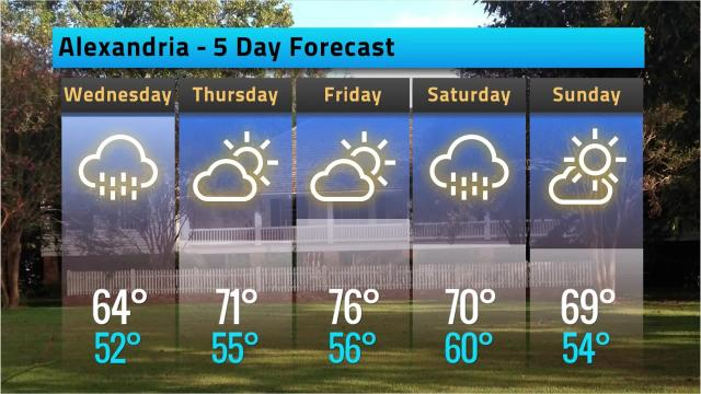 Here is your Alexandria weather forecast for Tuesday, Oct. 16