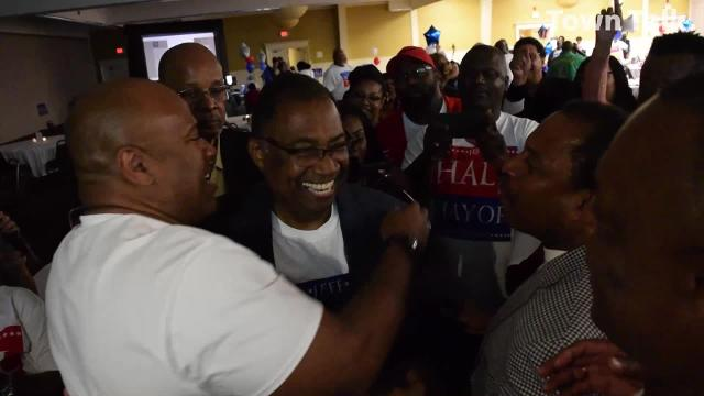 Jeff Hall, state representative for District 26, celebrates his mayoral win with supporters at his election watch party held Tuesday, Nov. 6, 2018 at the Louisiana Convention Center on North MacArthur Drive.