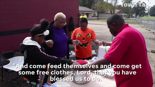 Wayne Thomas, bishop of House of Praise Full Gospel Missionary Baptist Church, and his wife co-pastor Cherica and daughters, Jamesha and Jania, serve free chili and hand out free clothes Saturday on Bayou Rapides Avenue. The church serves free meals on the fourth Saturday of each month.