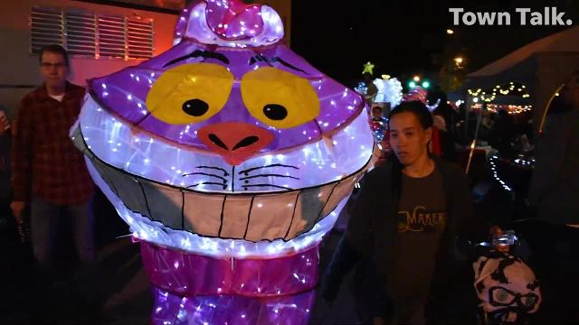 The Alexandria Museum of Art held their annual Winter Fete Illuminated Procession Saturday, Dec. 1, 2018 in downtown Alexandra. The fireworks started once the procession made its way to the amphitheater. A giant snowman, a Christmas tree, an angel and the Cheshire Cat were among the characters. Anyone can participate in the procession which is free. AMoA also hosts community luminary workshop where participants can make their own luminaries for future processions.