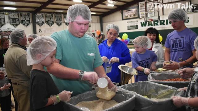 Grace Christian School students were busy Friday, Dec. 7, 2018 packing about 10,000 dried meals that will be sent to the country of Haiti and sent to the Manna House, a local non-profit kitchen that feeds those in need. The local school's project called Feed the Need started in November and concluded Friday.