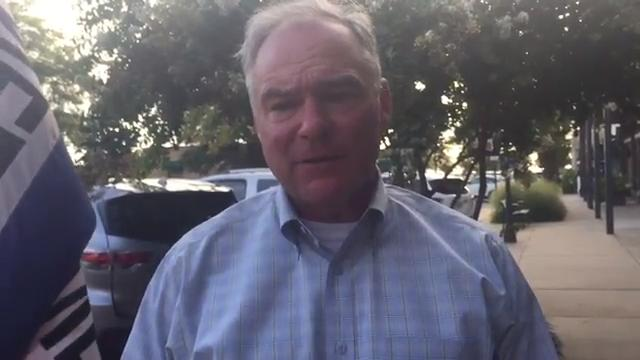 Sen. Tim Kaine spoke during a stop in Cape Charles, Virginia about his visit to Tangier on Thursday, Aug. 17, 2017.