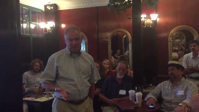 Senator Tim Kaine speaks during a visit to Cape Charles, Virginia on Thursday, Aug. 17, 2017.