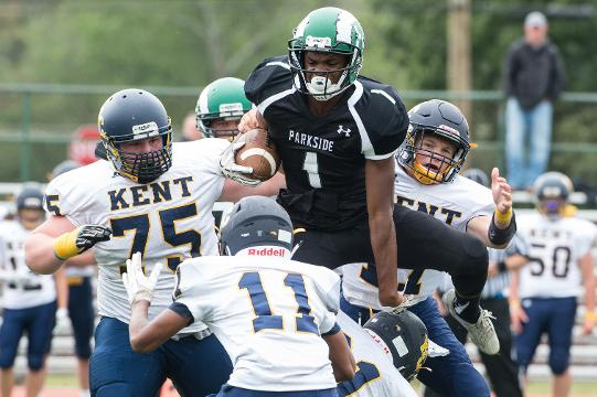 Parkside football players take to the field during a game against Kent County.