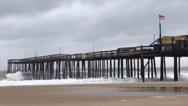Watch: Waves, wind pound Ocean City Inlet
