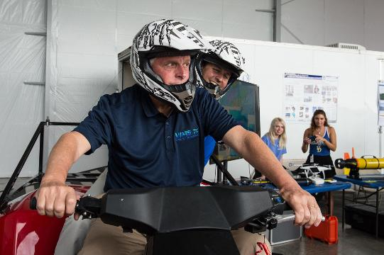 During a drone demonstration Governor McAuliffe talked about the Mid-Atlantic Regional Spaceport.