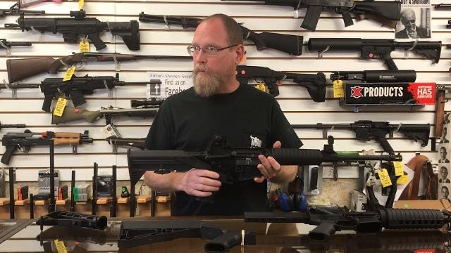 Bob Arthur, Owner of Arthur's Shooters Supply, explains how a bump-fire stock works.