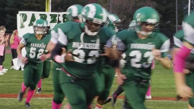Parkside football players run onto the field before their matchup against Snow Hill Thursday, Oct. 12. Parkside stopped a losing streak with a 59-7 win.