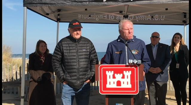 Maryland Gov. Larry Hogan, along with members of the Army Corps of Engineers, the Maryland Department of Natural Resources and Ocean City and state government, gathered along the Ocean City coast Monday to comment on the project's process.