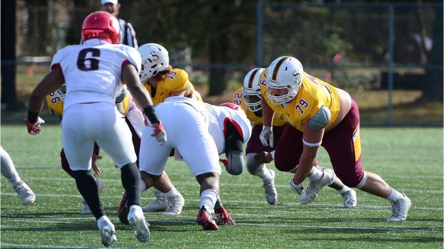Andrew Houck, who just finished his junior campaign with the Sea Gulls, is a huge presence on the Salisbury University offensive line.