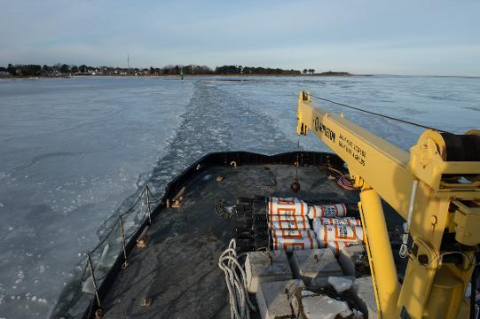 WATCH: Icebreaker clears a path to Smith Island