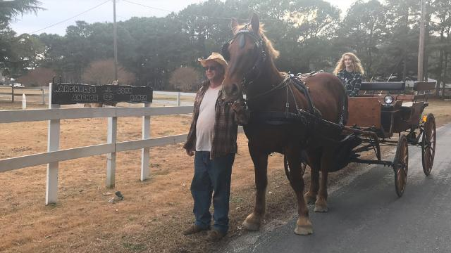 A family is offering horse-drawn carriage rides in Cape Charles, Va.