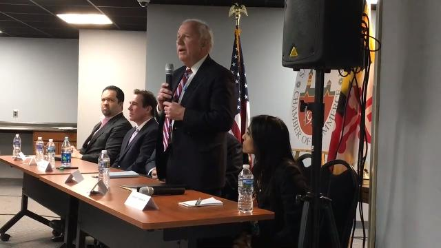 Six of eight hopefuls speak during Chamber of Commerce event