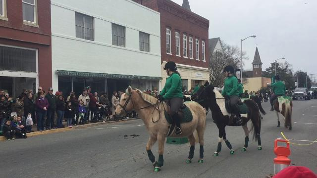 Founded in 1998, the Chincoteague Pony Drill Team is made up of Chincoteague ponies. The drill team performed during the 2018 Onancock St. Patrick's Day Parade.