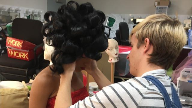 """Jake Thereault is the expert on synthetic hair for Salisbury University's """"Hairspray"""" production."""