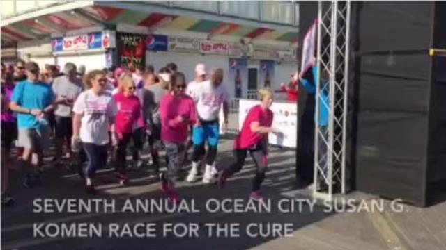 Runners and walkers start at the 7th Annual Ocean City Susan G. Komen Race for the Cure on April 14, 2018.