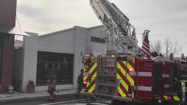 A fire damaged a storefront in Berlin on Main Street on Monday.