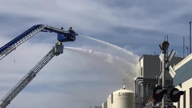 Watch: Fire at Mountaire Farms in Selbyville