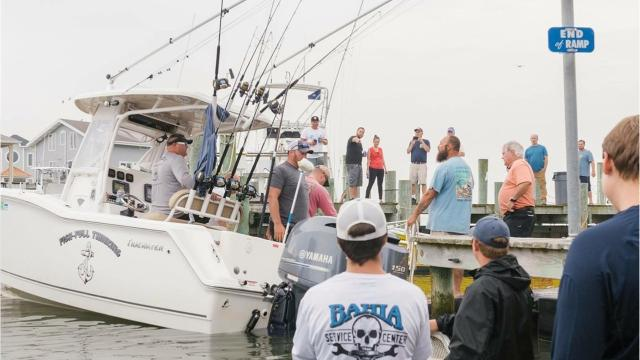 On the second day of the Mako Mania Tournament in Ocean City, Nick Skidmore of the Fishful Thinking hauled in a 644.9 shark – a new Maryland record.