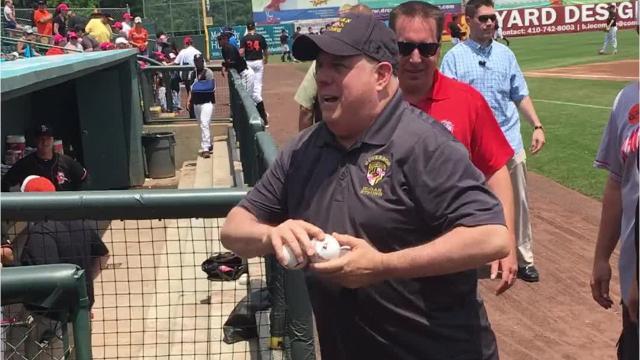 Maryland Governor Larry Hogan kicked off Sunday's Delmarva Shorebirds' game by juggling baseballs.
