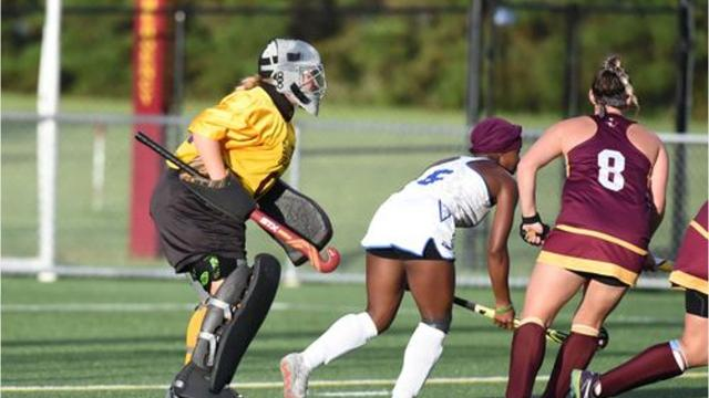 Pocomoke grad Dom Farrace won the starting goalie job for the Salisbury University field hockey team. Now, she's focused on helping the Sea Gulls win.
