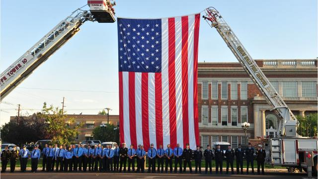 Firefighters, police, military and civilians gathered to honor America's fallen Monday morning at the 16th annual Community 9-11 Remembrance Ceremony.