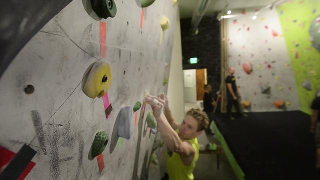 The Hi-Line Climbing Center's youth climbing team practices for USA Climbing competitions.