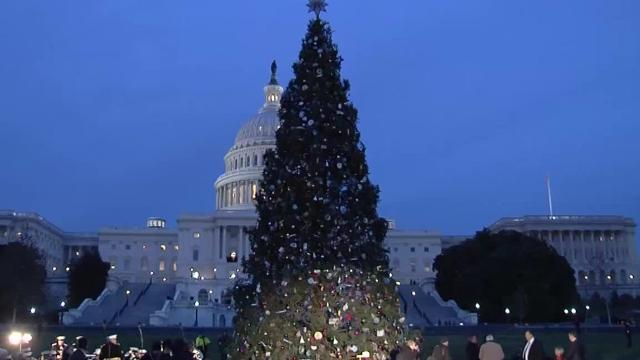 Christmas Eve In Washington.National Christmas Tree From Montana In Washington D C