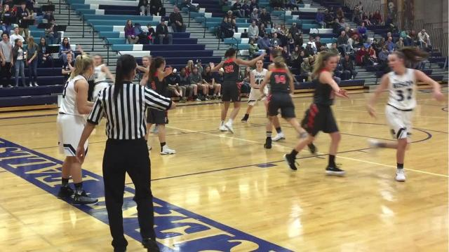 The Great Falls High Bison entertained the Kalispell Flathead Bravettes in the Bison girls' season opener Saturday, Dec. 9, 2017 at Swarthout Fieldhouse. They were playing without three key players, including senior Molly Schmitz, who will miss at least all of December with a knee injury.