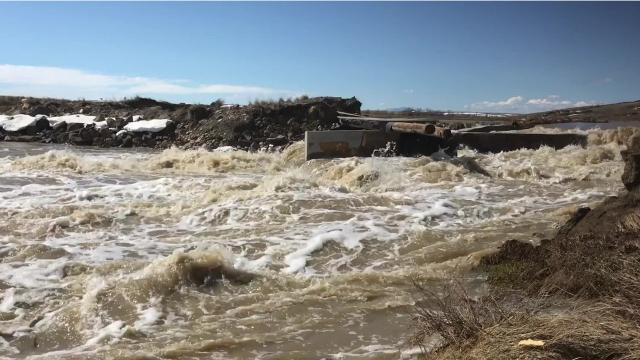 Snowmelt is causing severe spring flooding along the Hi-Line region of Montana.