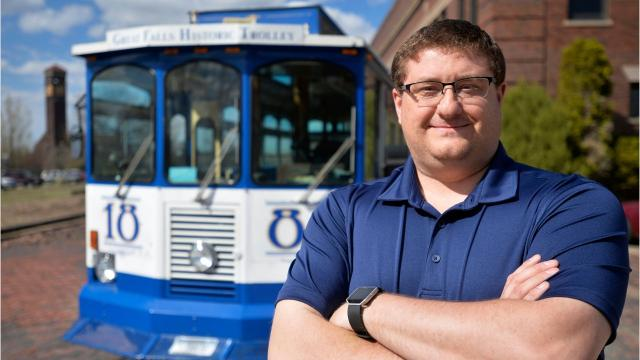Aaron Kueffler purchased the Great Falls Historic Trolley in April from the Downtown Great Falls Association.