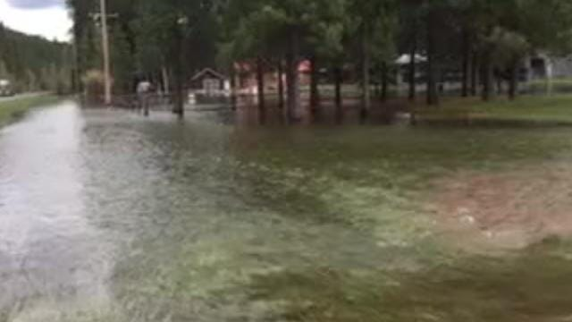 Rising rivers are encroaching roadways and homes in Montana.
